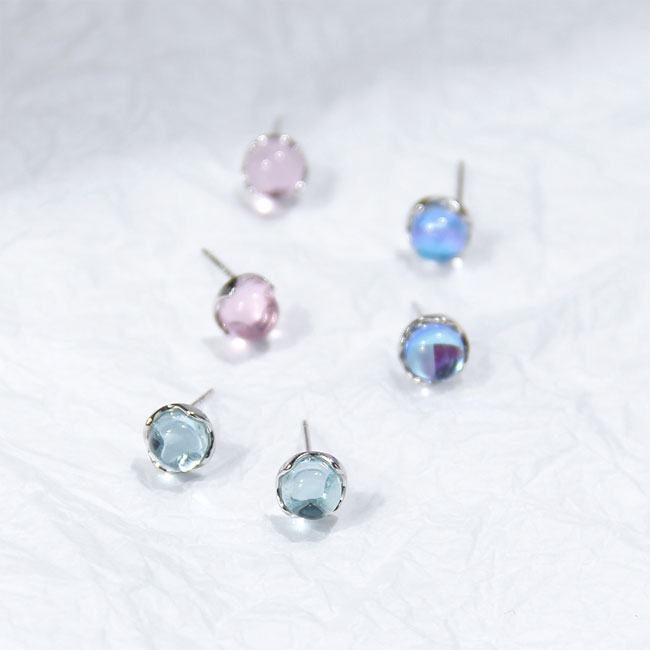 Unique Droplets Crystal Silver Tear Water Women Earrings Studs