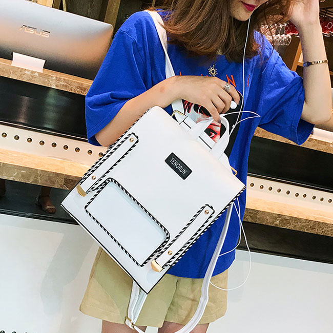 Unique Abstract Line Pure Color Square Girl School Backpack