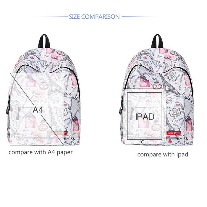 Cute Cartoon Eiffel Tower Windmill Student Bag Large Ink Tower School Backpack