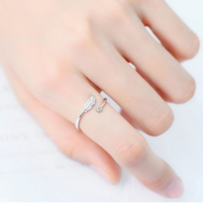 Cute Feather Crystal Ring Silver Plume Unique Gift  Open Ring