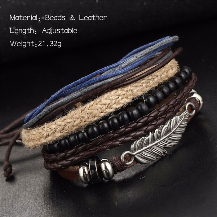Retro Alloy Multi-layer Wooden Bead Angel Wing Feather Woven Beaded Wax Bracelet