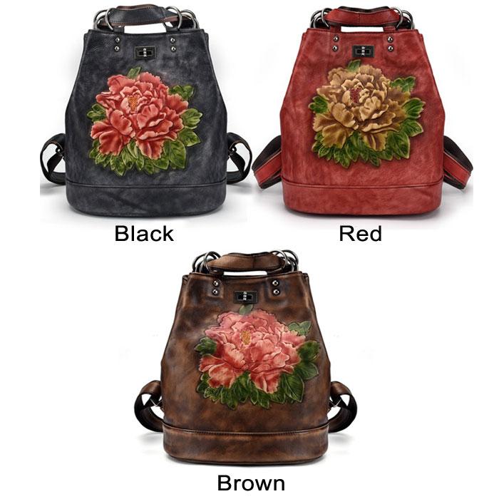 Retro Original 3D Flower Leaves Multi-function Shoulder Bag Handmade Large School Backpack