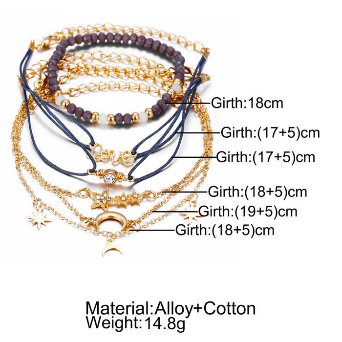 Unique Star Moon Love Beads Six-piece Anklet Women Bracelet