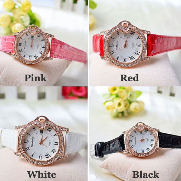 Roman-style Diamond-studded Student Leather Watch