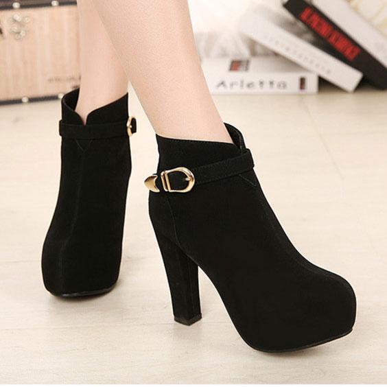 Fashion Black Round Buckle Woman Martin Boots