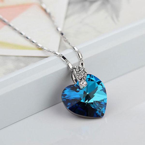 Blue Ocean Heart Crystal 925 Sterling Silver Pendant