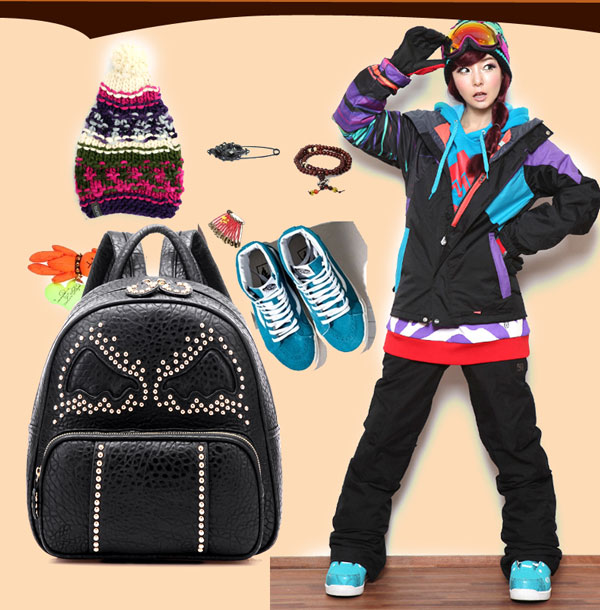 Fashion Rivet Bat Pattern Leather Backpack