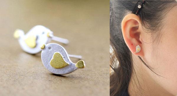 Lovely Heart Bird Silver Stud Earrings