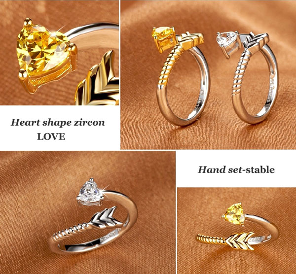 Unique Arrow Heart Silver Opening Ring
