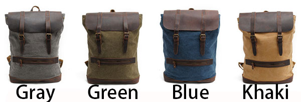Retro Large Camping Cylinder Bag Real Leather Splicing Thick Canvas Outdoor Hiking Backpack