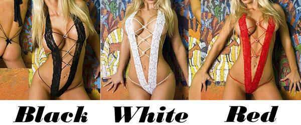Sexy Lady's Deep V-neck Halter Big Boob Lace Bundling Temptation Backless Jumpsuits Lingerie