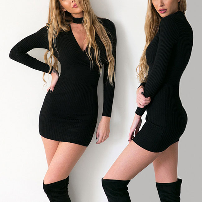 Sexy Choker V-neck Long Sleeves Package Hip Skirt Women's Whole Color Dress