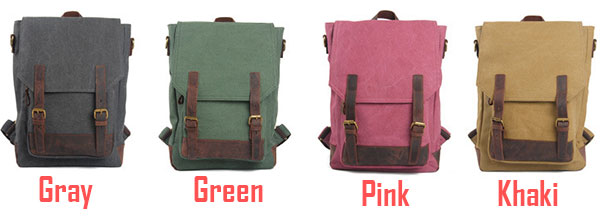 Leisure Large Capacity School Rucksack Retro Cowhide Leather Splicing Canvas Travel Backpack