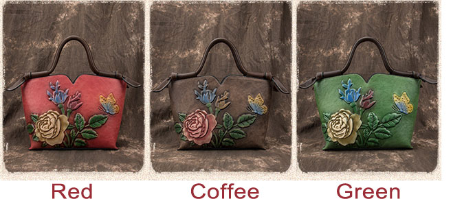 Retro Handmade 3D Flower Leaves Shoulder Bag Butterfly Embossing Handbag
