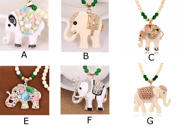 Cute Elephant Beads Sweater Necklaces