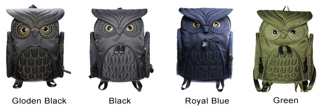 Fashion Street Cool Owl Shape Solid Computer Backpack School Bag Travel Bag