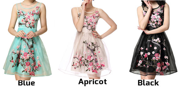 New Nice Handmade  Embroidery  Flower Organza Party Dress &Dress