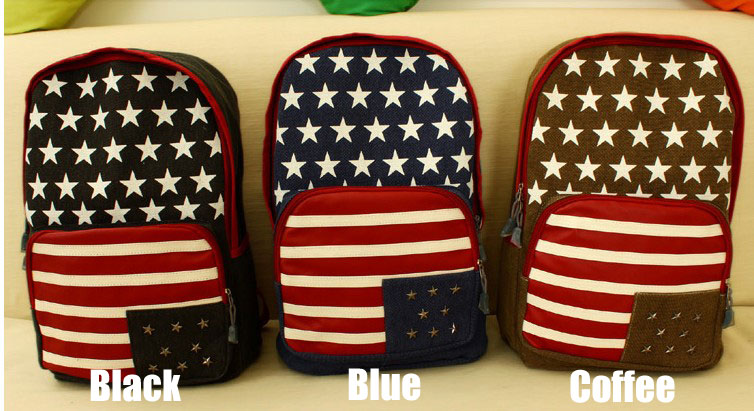 retro American Flag Rivet Canvas Backpack