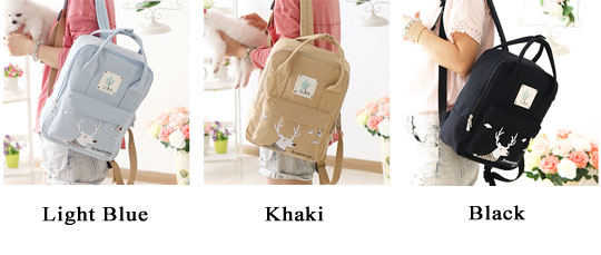 Cartoon Deer Girl Rucksack College Multifunction Canvas Backpack