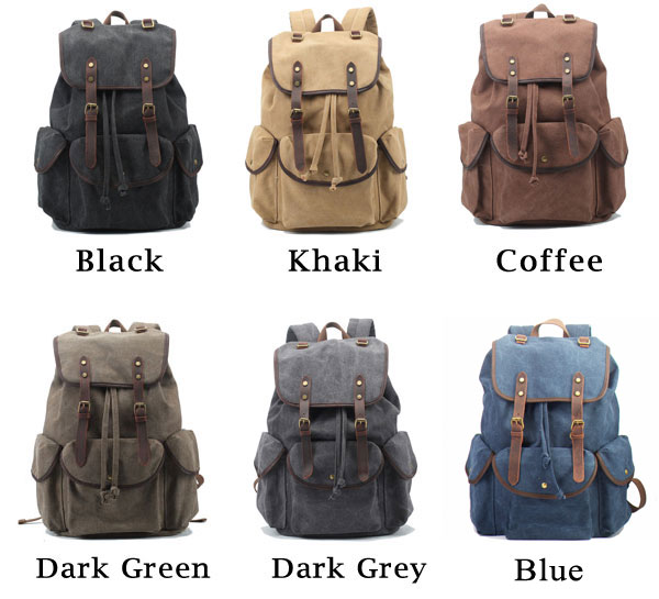 Retro Leather Strap Rucksack Thick Canvas Large Travel College Backpack