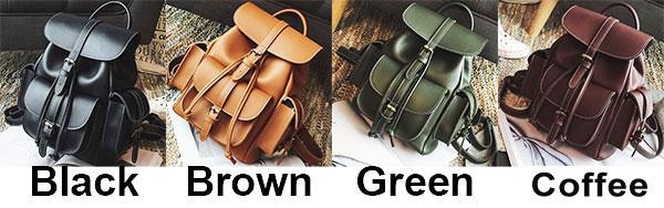 Leisure Brown Three Pockets PU Smooth Large School Backpacks