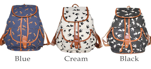 Gentlewoman Style Swallow Printed Canvas Leisure Backpacks