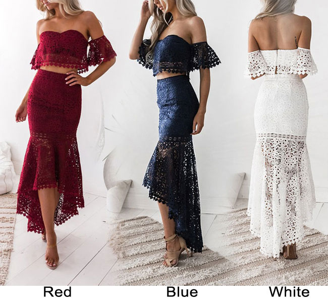 Fresh Lace Bandeau Backless Pencil Skirt Two Piece Set Hollow Summer Long Dress