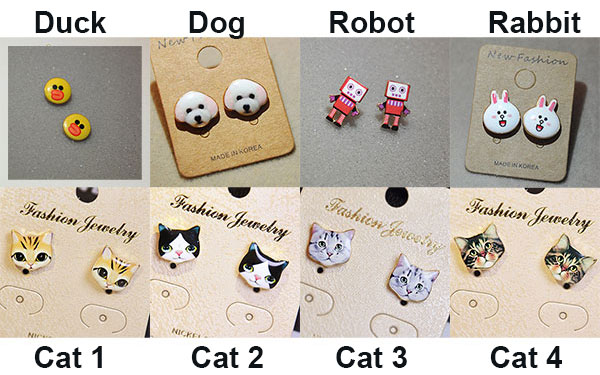 Fashion Cute Cartoon Animal Cat Duck Dog Robot Women Kitty Earring Studs