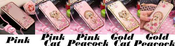 Shining Flowers Cat Peacock Hold Ring Iphone 6/6s/6 plus/6s plus/7/7 plus/8/8 plus Diamond-bordered Iphone Case