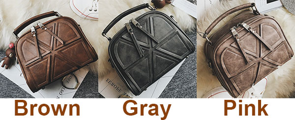 Fashion Double Zippers Handbag Retro Lines Separated Geometric Pattern PU Shoulder Bag