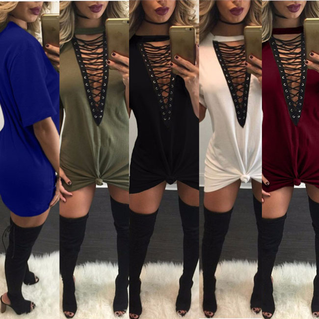 Sexy Women's Chest Hollowed-out Crossover Strap V-neck Loose T-shirt Dress