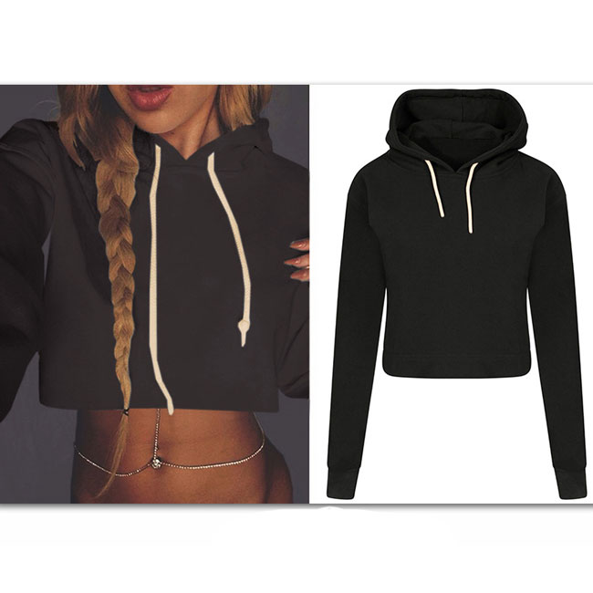 Autumn Women's Sexy Crop Top Whole Color Hoodie Pullover Sweater