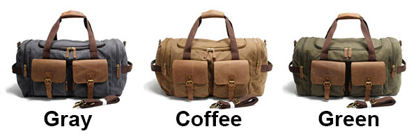 Retro Real Leather Multi-Pocket Luggage Bag Sports Handbag Large Capacity Travel Laptop Thick Canvas Shoulder Bag