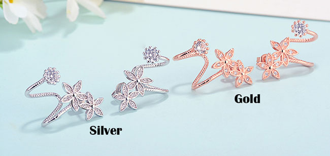 Fashion Women's Heart Flower Helix Diamond Ear Clips Earrings Studs