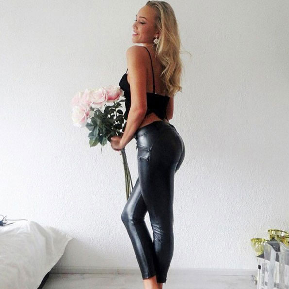 Sexy Show Out Your Body Black Shape-flaunting Peach Hips Leather Skinny Girl's Legging