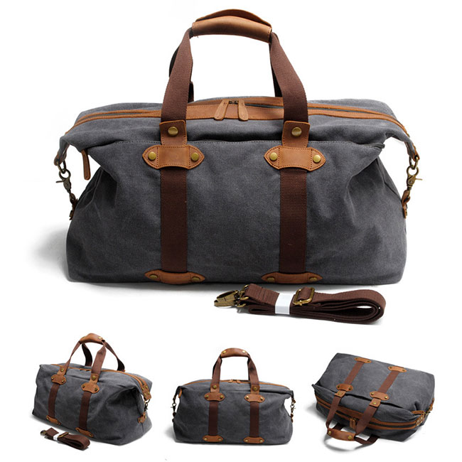 Retro Large Capacity Luggage Bag Splicing Leather Zipper Belt Handbag Canvas Shoulder Bag