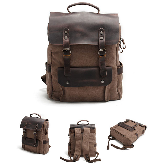 Retro Large Thick Canvas Travel Bag Splicing Leather Laptop Camping Backpack