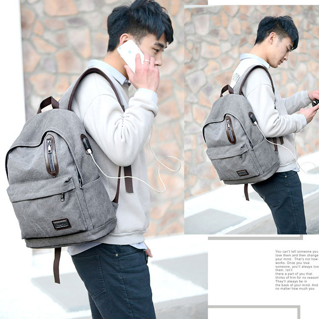 Cool Pure Washing Color Large School Bag USB Interface Zipper Decor Canvas Backpacks