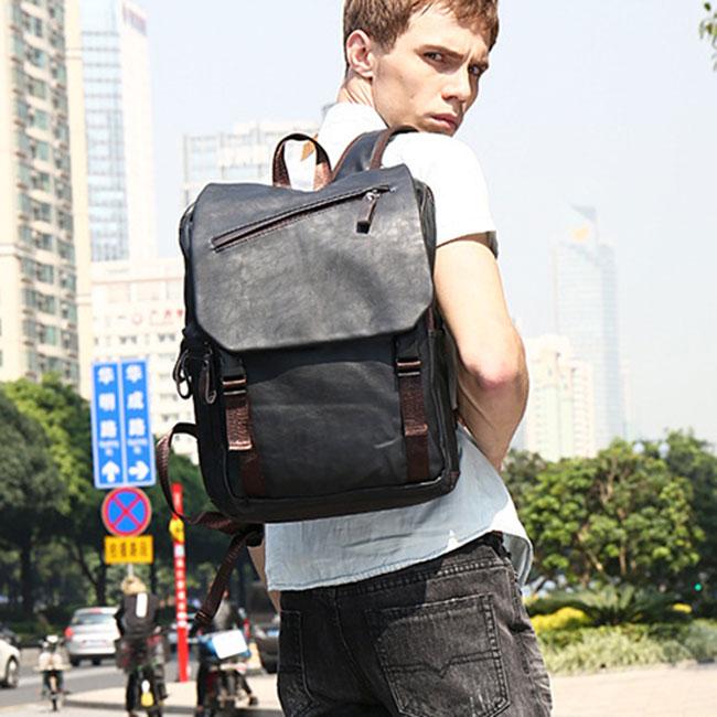Retro Men's College Black Student Bag Simple Laptop Backpack