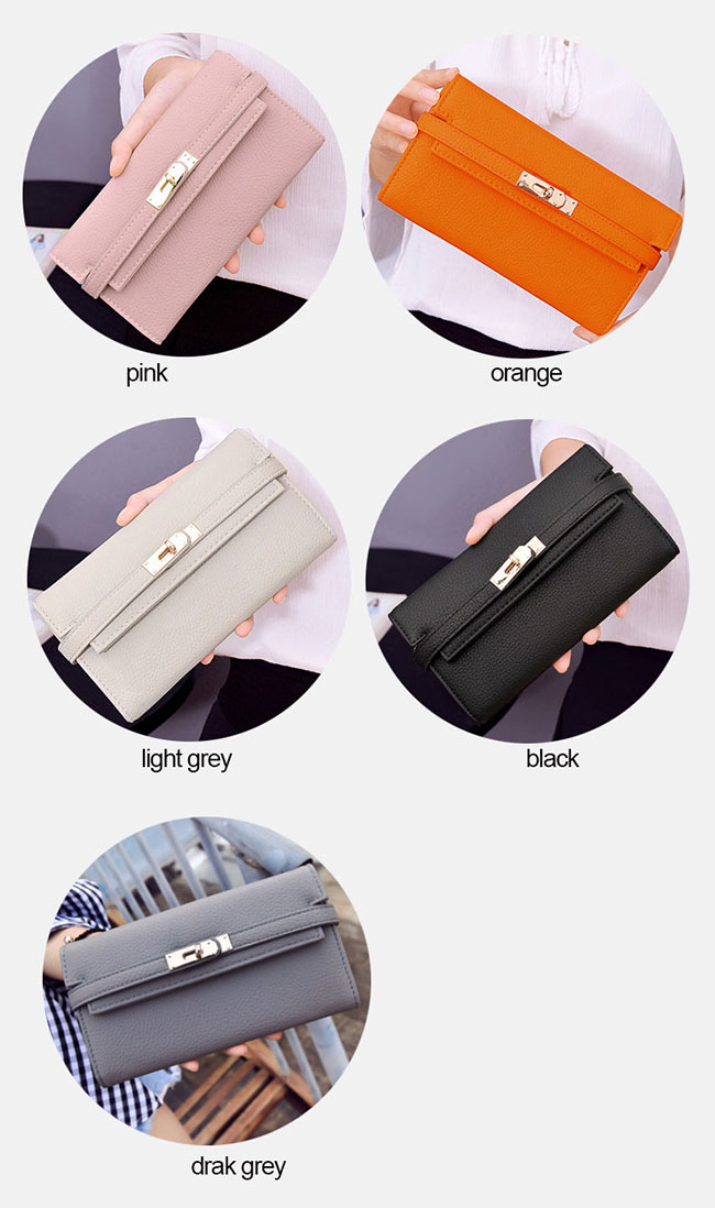 Fashion Litchi Pattern Ladies Clutch Bag Multi-card Purse Long Wallet