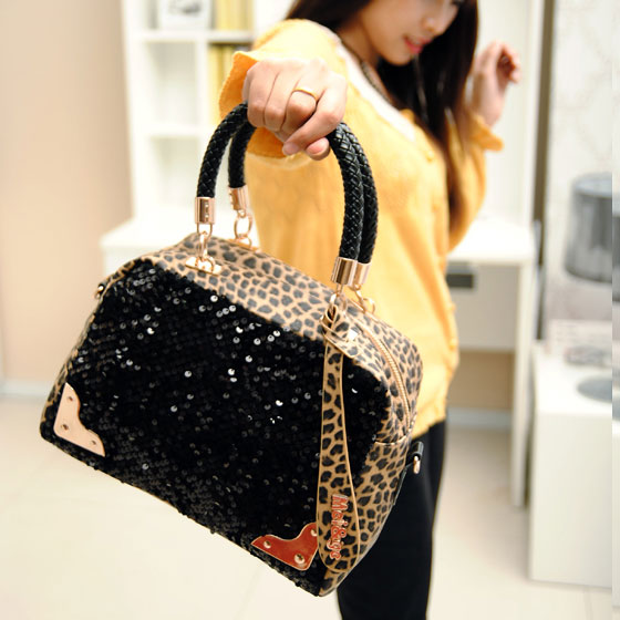 Elegant Fashion Leopard Sequins Handbag & Shoulder Bag