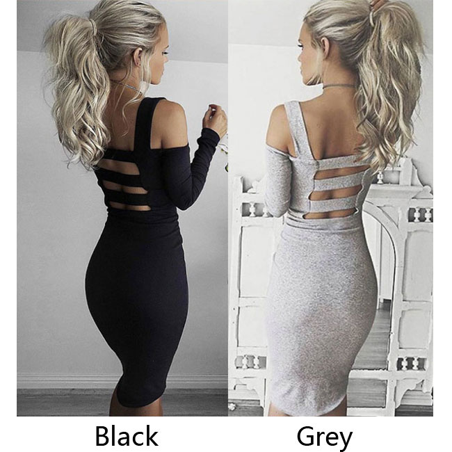 Fashion Backless Sling Bodycon Boat Neck Autumn Harness Long Sleeve Dress