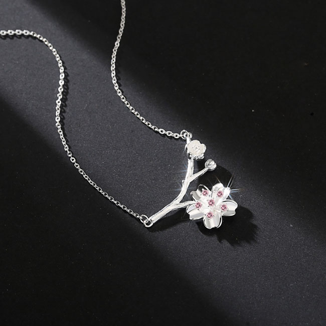 Fashion Cherry Branch Pendant Silver Necklace Pink Crystal Lover Gift Girlfriend Present Flower Women Necklace