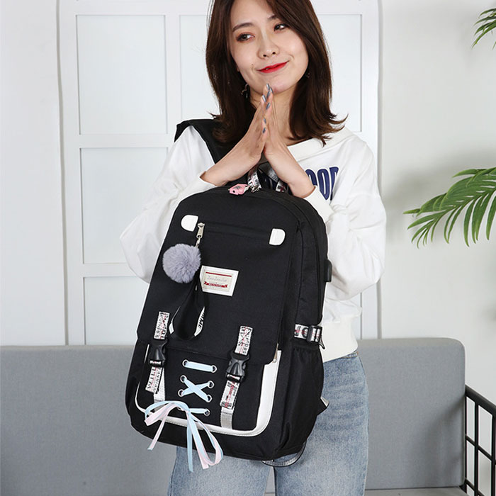 Leisure Large USB Interface Shoelace Bundle Student Bag Sport Backpack