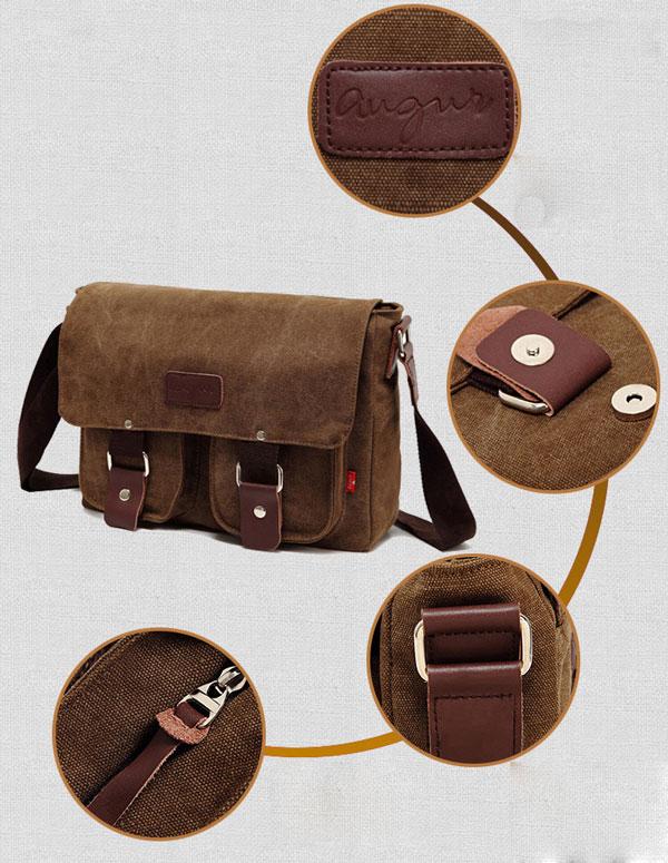 Vintage Front Pocket Canvas Shoulder Bag Messenger Bag
