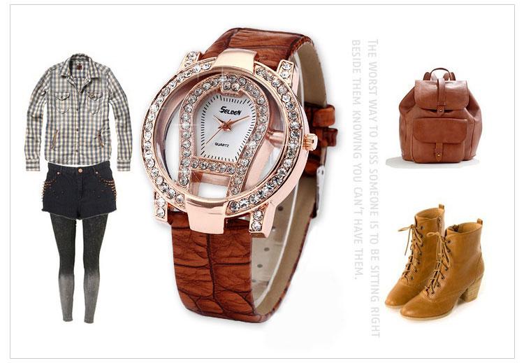 fashion large dial rhinestone trim hollow watch