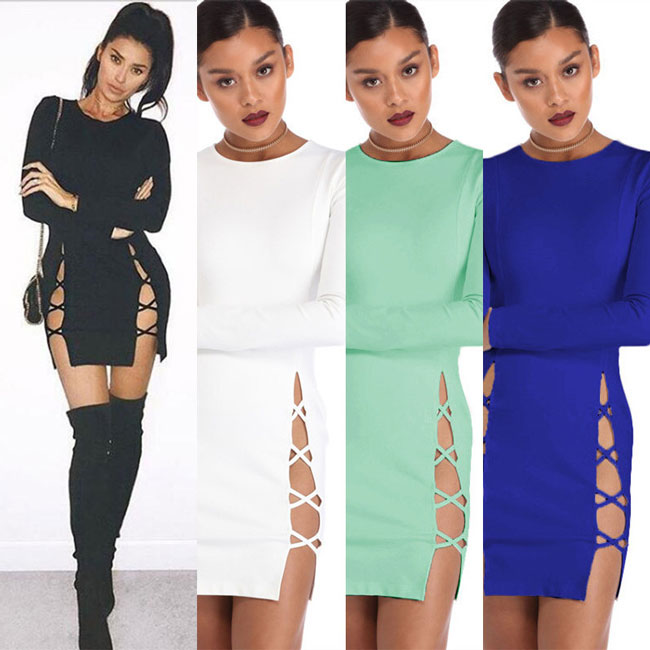 Sexy Slit Crossover Straps Package Hip Hollowed Skirt Women's Long Sleeves Side Dress