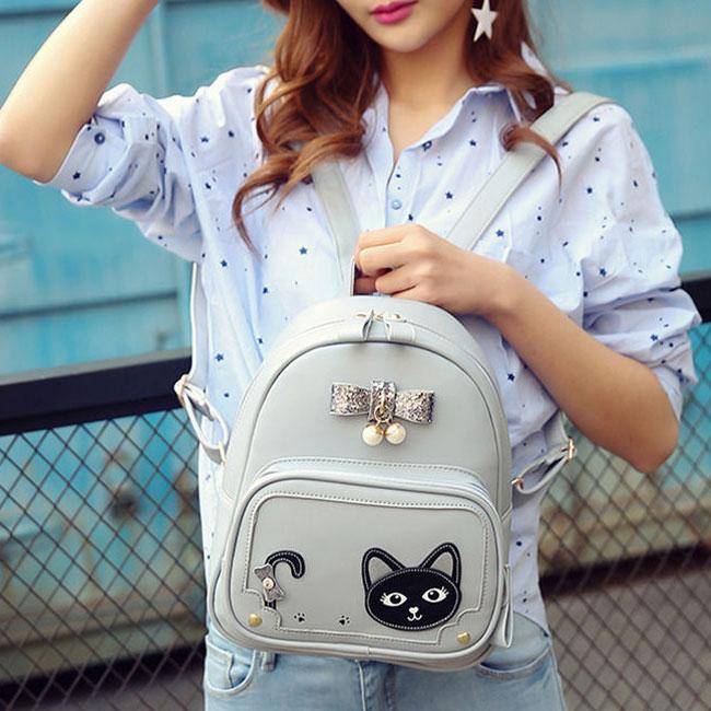 Sweet Stereo Bowknot Pearl Pendant Girl's Kitten PU Fresh Cute Cat School Backpack