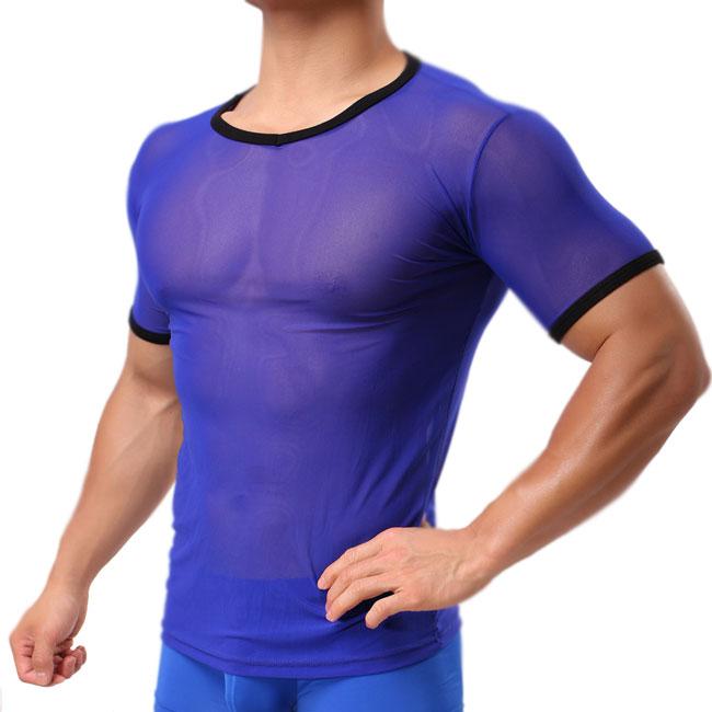 Sexy Men's Mesh See Through Whole Color Zephyr Sport T-shirt Men's Lingerie