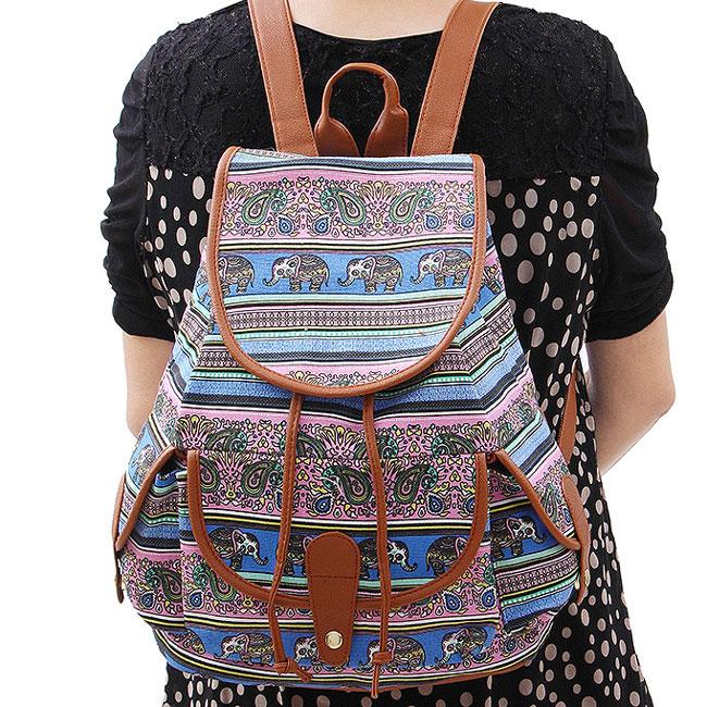 Folk Geometric Patterns Printing Splicing PU Belt Flap Bucket 3 Pockets School Canvas Backpack
